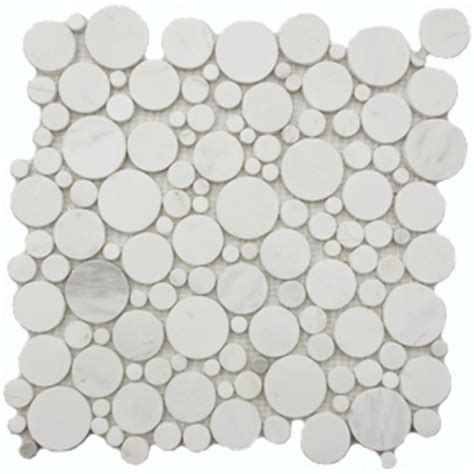 discount shower tile white flat pebble marble mosaic circle tile mesh backed sheet