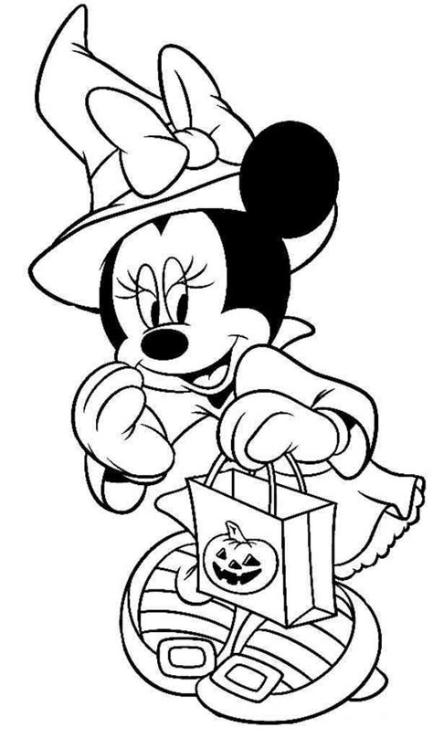 Disney Halloween Minnie Coloring Sheet for Kids Picture 7