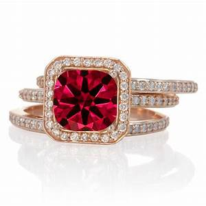 250 carat perfect princess cut ruby and diamond trio halo With ruby wedding ring set