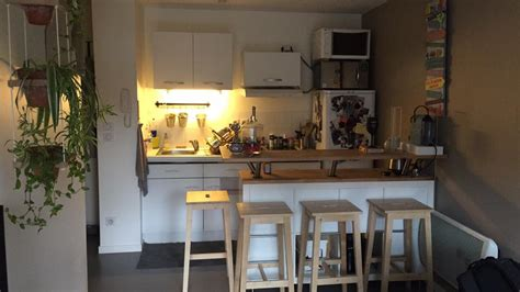 plan de travail central cuisine table de bar avec kallax bidouilles ikea