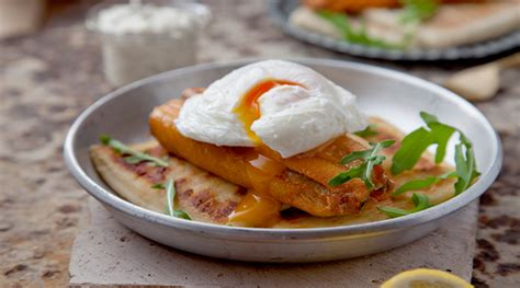 grilled kippers  poached eggs potato farl  lemon