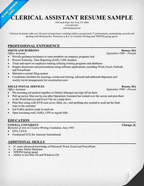 Clerical Resume Template by Clerical Assistant Resume Exle Resumecompanion