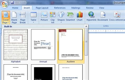how to create and save a custom cover page in word 2010 2007
