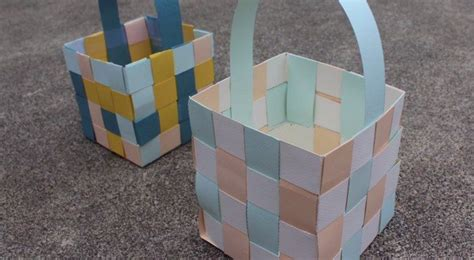 woven paper easter baskets craft projects