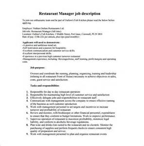 Restaurant Manager Responsibilities For Resume by Description Restaurant Manager Resume