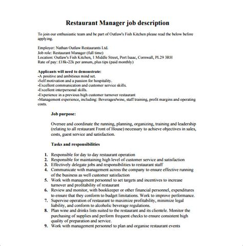 Kitchen Manager Work Description restaurant manager description template business