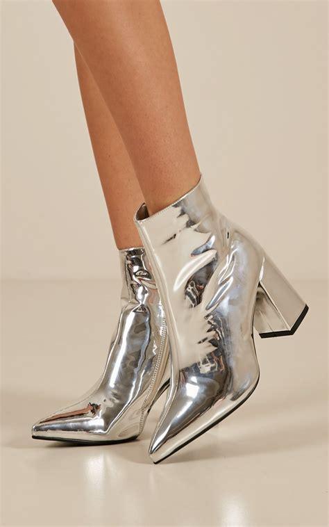 therapy alloy boots  silver showpo