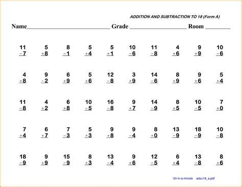 5 1st grade math worksheet western psa