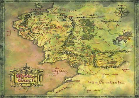 Lord Of The Rings, Middle Earth Map Hobbit Giant Print