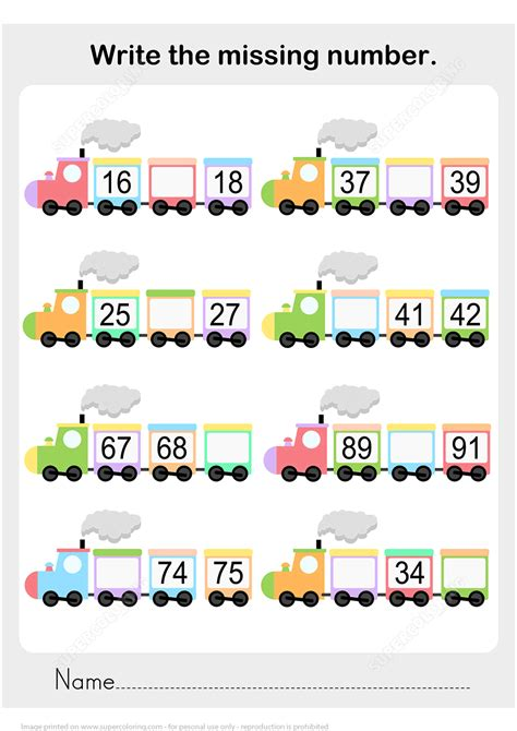number sequence worksheet train  printable puzzle games