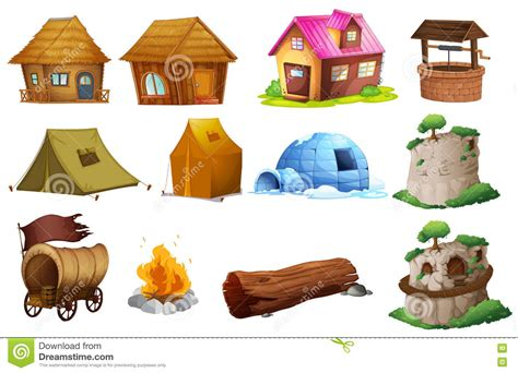 Different Types Of Accommodations Stock Illustration