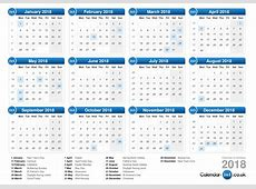 2018 Calendar Uk monthly printable calendar