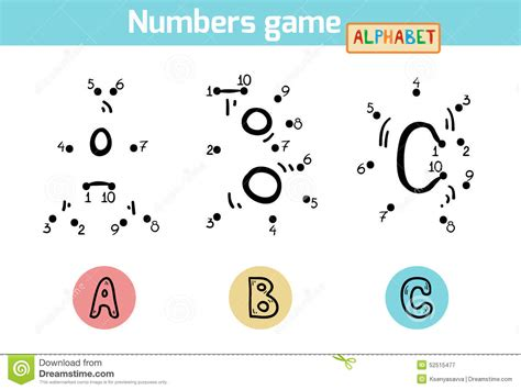 number of letters in the alphabet numbers alphabet letters a b c stock vector 13882