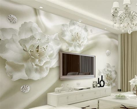 beibehang  wallpaper elegant white large silk flower