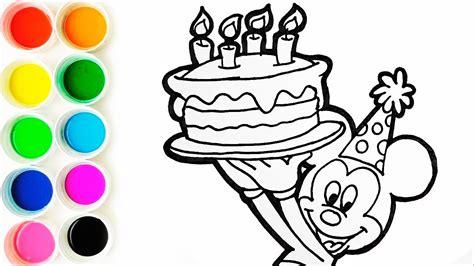 Como Dibujar y Colorear a Mickey Mouse con una Torta de
