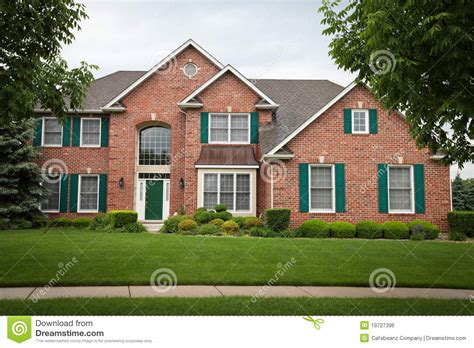 Red Brick House Stock Photo Image Of Shrubbery, House