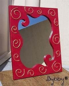 cadre miroir en carton spirales rouge et or diy papier With miroir cadre rouge