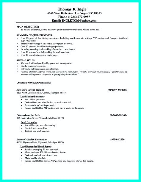 Cocktail Server Resume by Cocktail Server Resume Skills To Convince Restaurants Or Caf 233