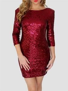 Eng Anliegende Kleider : rotes r ckenfreies paillettenkleid minikleid glitzerkleid weihnachtsmotiv party cocktailkleider ~ Frokenaadalensverden.com Haus und Dekorationen