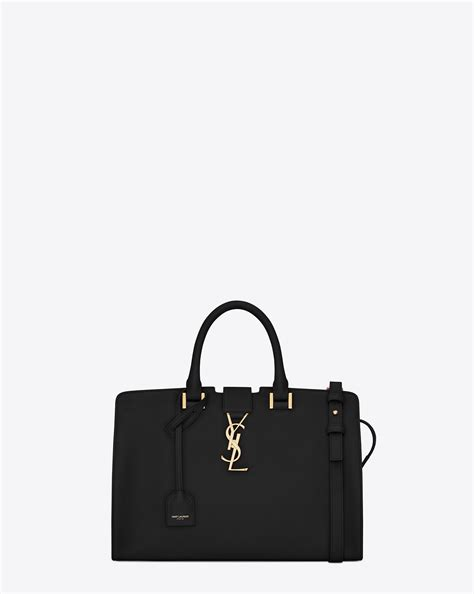 lyst saint laurent small cabas ysl bag  black leather