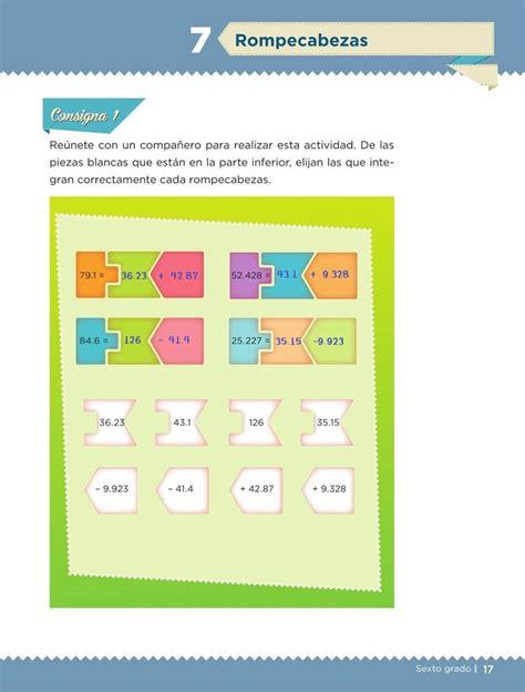 rompecabezas desafio  desafios matematicos sexto contestado tareas cicloescolar