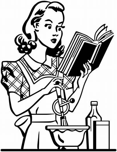 Retro Lady Cook Vector Clipart Illustration Housewife