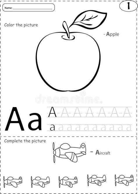 Cartoon Apple And Aircraft. Alphabet Tracing Worksheet
