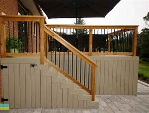 PVC deck, aluminum railing with wood frame, outdoor patio