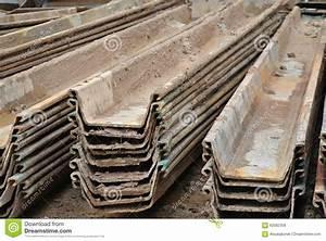 Stack Of Retaining Wall Steel Sheet Pile Cofferdam Stock ...