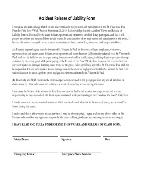 auto accident release of liability form pdf sle release of liability form 11 free documents in