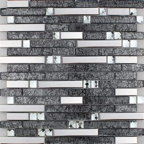 Brown Glass and Stainless Steel Silver Mosaic Wall Tile
