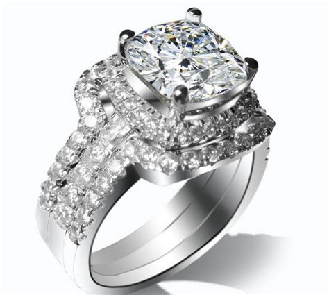 solid 18k white gold bridal sets sparking jewelry 3ct cushion cut simulate ring
