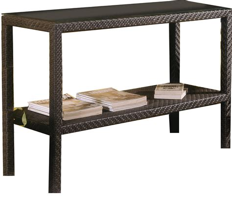 brown outdoor wicker console table with storage and