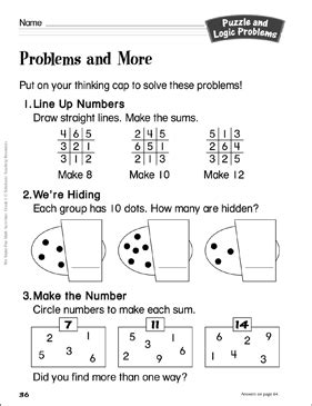 problems and more grade 1 puzzle and logic problems activity printable lesson plans ideas