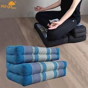 3-fold, Zafu, Meditation, Cushion, Set, Blue
