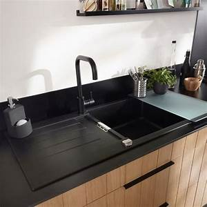 évier En Résine Noir : evier encastrer r sine noir 1 cuve alios castorama ~ Premium-room.com Idées de Décoration