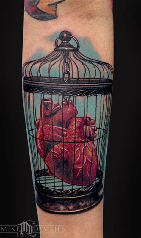 coloured heart   bird cage tattoo tattooimagesbiz