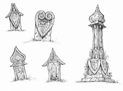 Concept Warcraft Gilneas Gravestones Cataclysm Drawings Sketches