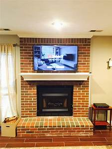 Tv, Mounted, On, A, Brick, Fireplace, In, Lexington, Kentucky, Visual