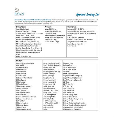 sample inventory list   word excel
