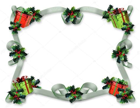 christmas border gifts  holly stock photo  irisangel