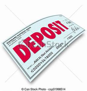 Clipart of Deposit Word Check Putting Money Into Your Bank ...