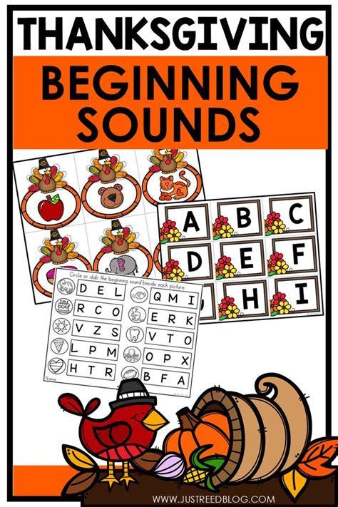 beginning sounds activity center  thanksgiving