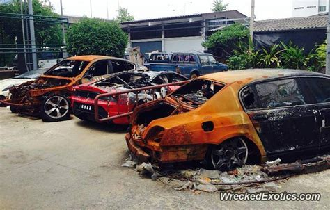 exotic cars destroyed  fire  thailand