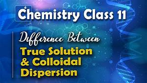 Difference Between True Solution And Colloidal Dispersion