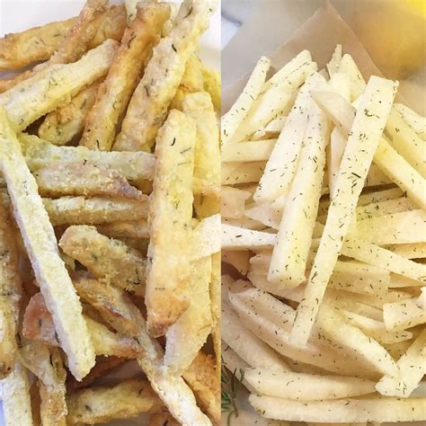 air fries jicama fryer fried vs recipe raw healthier thyme winners both table wi dish side eggs