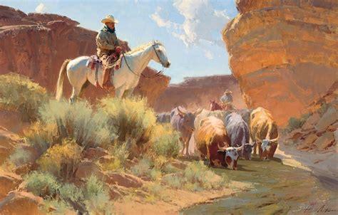 Обои водопой картина ковбой лошадь река коровы