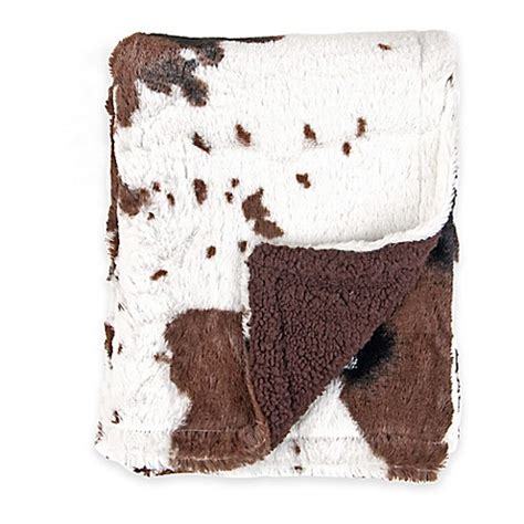 Cowhide Blanket - tadpoles by sleeping partners cowhide print sided