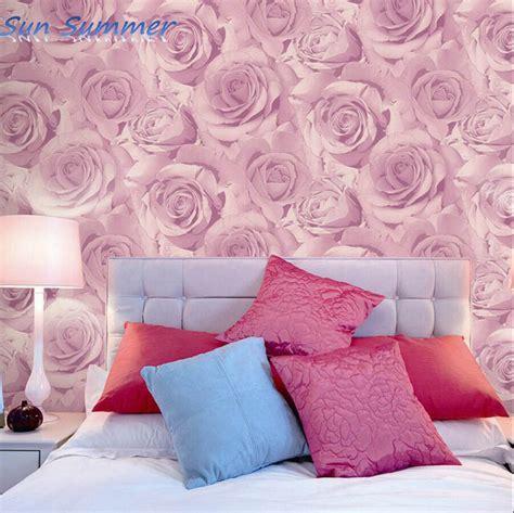 romantic purple pink rose wallpaper bedroom wall