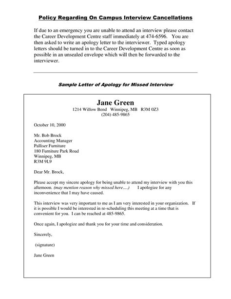 Sincere Apology Example Letter for missed job interview